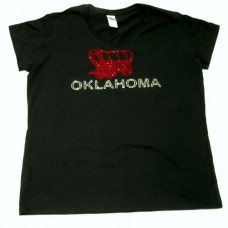 Ladies Oklahoma Settler Rhinestone V-Neck Shirt M-XL